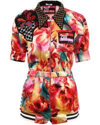 f5b2d89eae Miu Miu - Embellished Floral Print Jumpsuit - Lyst