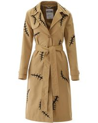 Moschino Embroidered Trench Coat - Natural