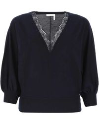 Chloé Lace Trim V-neck Knitted Top - Blue