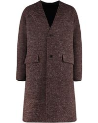 KENZO Double Face Mixed Wool Coat - Brown