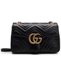 Gucci GG Marmont Velvet Mini Shoulder Bag - Black