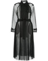 RED Valentino Plumetis Tulle Long Trench - Black