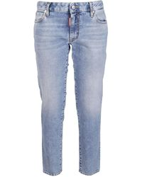 DSquared² Bleached Straight Fit Jeans - Blue