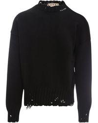 Marni Distressed Knit Sweater - Black