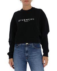 Givenchy Logo Printed Cropped Sweatshirt - Black