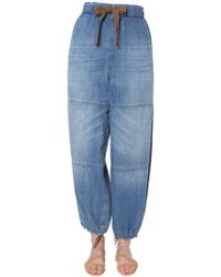 Brunello Cucinelli - Wide Jeans With Elastic Waist - Lyst