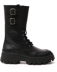 Miu Miu Buckle Combat Boots - Black