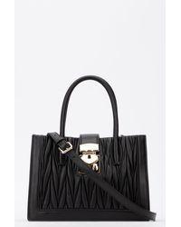 Miu Miu Confidential Matelassé Top Handle Tote Bag - Black