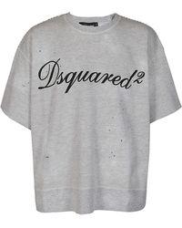 DSquared² Logo Printed Short Sleeve Sweatshirt - Grey