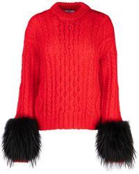 Prada Feathered Sleeve Cable Knit Sweatshirt