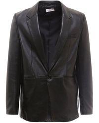 Saint Laurent Single Breasted Leather Jacket - Black
