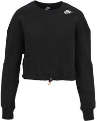 Nike Logo Print Crewneck Sweatshirt - Black