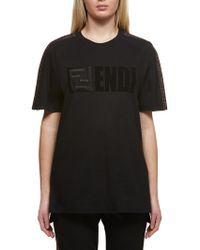 9669a32f Fendi Asymmetrical T-shirt With Logo in Black - Lyst