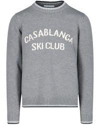 CASABLANCA Ski Club Intarsia Knitted Sweater - Gray