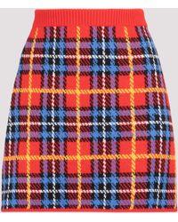 Miu Miu Checked Knitted Skirt - Red
