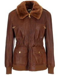 Chloé Shearling Collar Leather Jacket - Brown