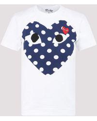 COMME DES GARÇONS PLAY Comme Des Garçons Heart Printed T-shirt - White