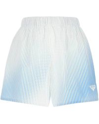 Prada Logo Print Striped Shorts - Blue
