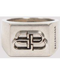 Balenciaga Bb Logo Ring - Metallic