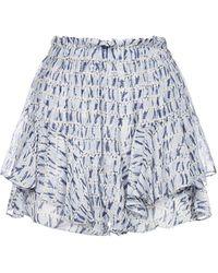 Étoile Isabel Marant Patterned Ruffle Shorts - Blue