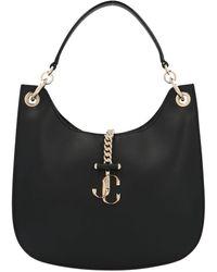 Jimmy Choo Varenne Large Leather Hobo Bag - Black
