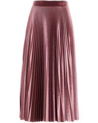 Valentino Pleated Velvet Midi Skirt - Pink