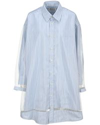 Maison Margiela Panelled Pinstripe Shirt Dress - Blue