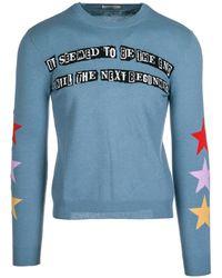 Valentino Men's Light Blue Wool Sweater