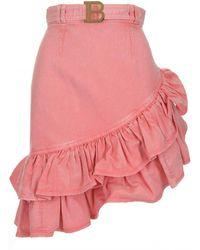 Balmain Ruffled Mini Skirt - Pink