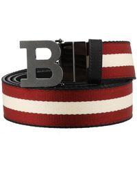 Bally B Reversible Stripe Belt - Black