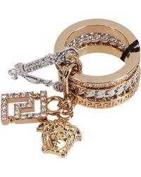 Versace Crystal-embellished Chain Detailed Charm Ring - Metallic