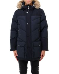 Woolrich Fur Trimmed Hooded Padded Parka - Blue