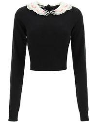 Miu Miu Embroidered Contrast Collar Cropped Sweater - Black