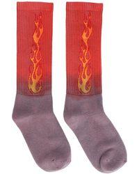 Palm Angels Flame Print Tie Dye Socks - Multicolour