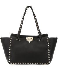 Valentino Garavani Small Grain Calfskin Leather Rockstud Bag - Black