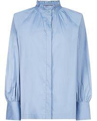 Max Mara Studio Ruffled High-neck Shirt - Blue