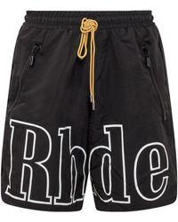 Rhude Logo Printed Shorts - Black