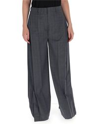 Prada - Checked Wide-leg Trousers - Lyst