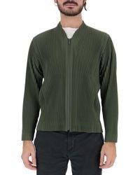 Homme Plissé Issey Miyake Pleated Zipped Jacket - Green