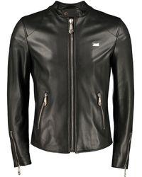 Philipp Plein Logo Palque Leather Jacket - Black
