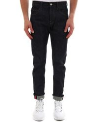 Gucci Tapered Folded Hem Jeans - Blue