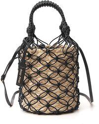 Miu Miu Woven Effect Bucket Bag - Black