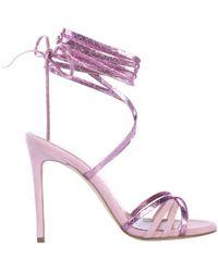 Paris Texas Suede Leather Sandal - Purple