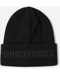 DSquared² Logo Embroidered Beanie - Black