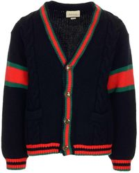 Gucci Cable Knit Oversized Cardigan - Blue