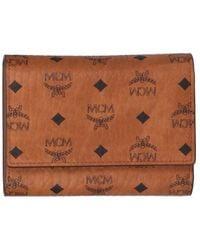 MCM Visetos Trifold Wallet - Brown