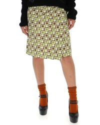 Prada - Check Print Wraparound Skirt - Lyst