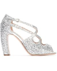 Miu Miu Glittered 100mm Sandals - Metallic