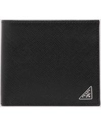 Prada Logo Plaque Bifold Wallet - Black