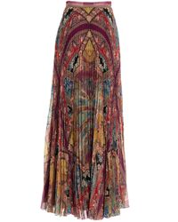 Etro Mixed Print Pleated Skirt - Multicolour
